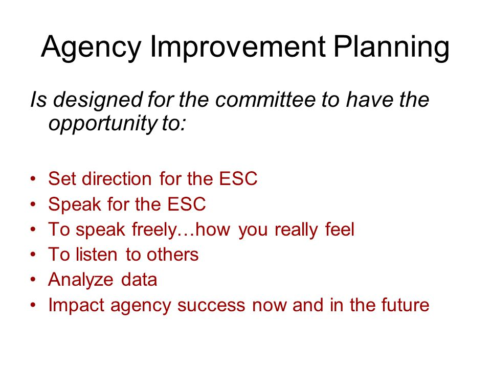 Agency Improvement Planning Is designed for the committee to have the opportunity to: Set direction for the ESC Speak for the ESC To speak freely…how you really feel To listen to others Analyze data Impact agency success now and in the future