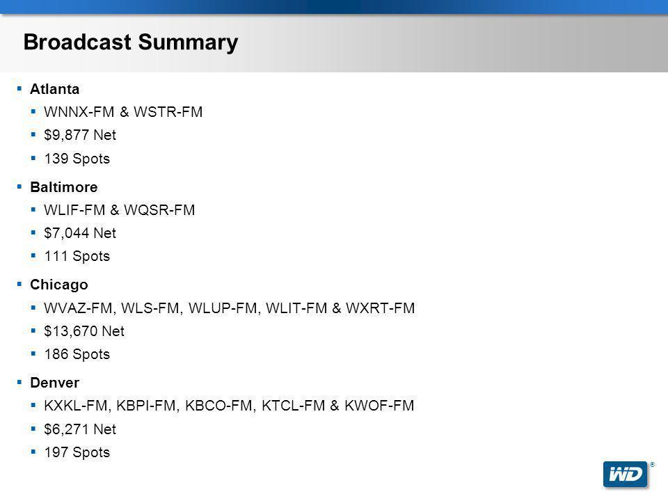 ® Broadcast Summary  Atlanta  WNNX-FM & WSTR-FM  $9,877 Net  139 Spots  Baltimore  WLIF-FM & WQSR-FM  $7,044 Net  111 Spots  Chicago  WVAZ-F