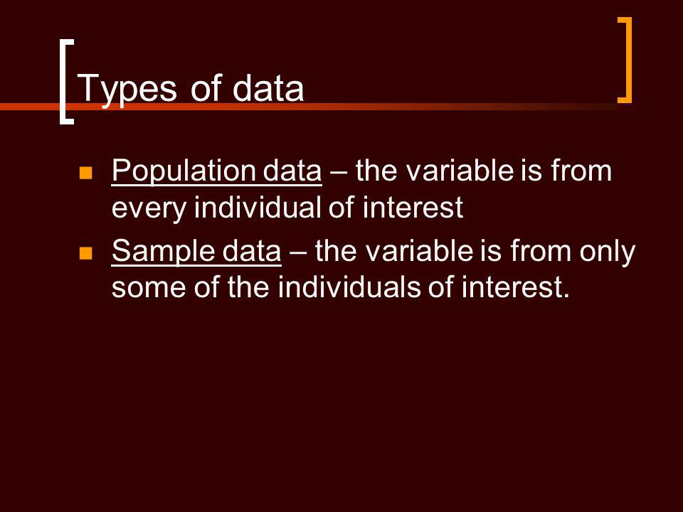Types of data Population data – the variable is from every individual of interest Sample data – the variable is from only some of the individuals of interest.