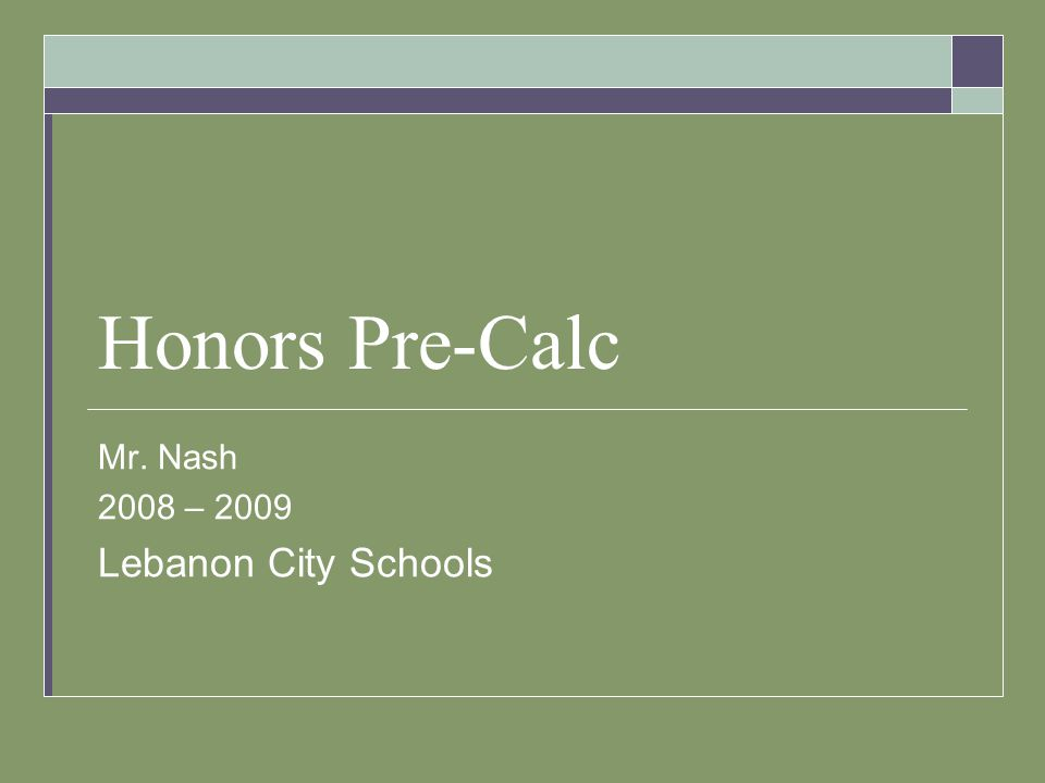 Honors Pre-Calc Mr. Nash 2008 – 2009 Lebanon City Schools