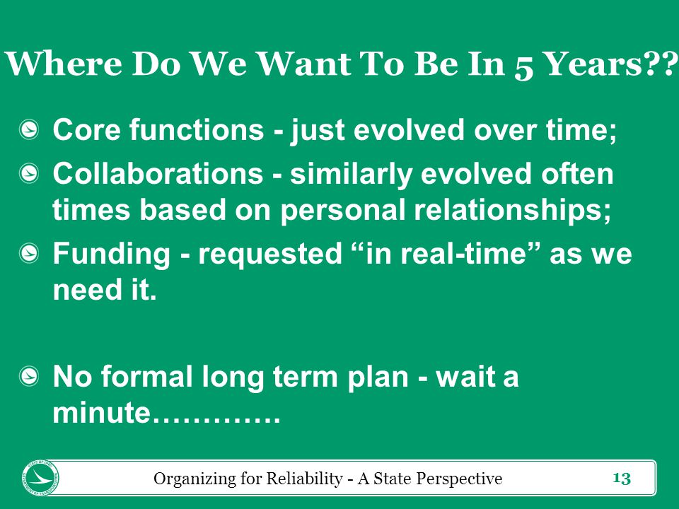 13 Core functions - just evolved over time; Collaborations - similarly evolved often times based on personal relationships; Funding - requested in real-time as we need it.