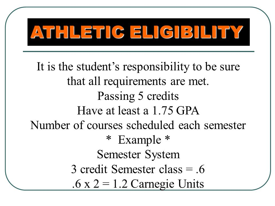 ATHLETIC ELIGIBILITY It is the student's responsibility to be sure that all requirements are met.