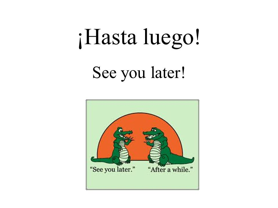 ¡Hasta luego! See you later!