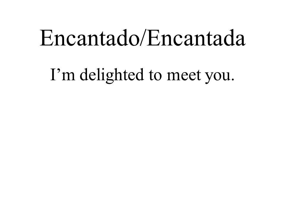 Encantado/Encantada I'm delighted to meet you.