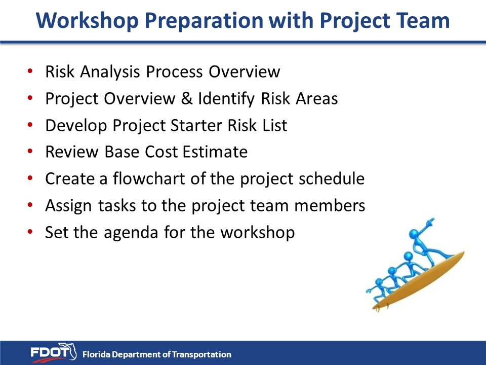Workshop Preparation with Project Team Risk Analysis Process Overview Project Overview & Identify Risk Areas Develop Project Starter Risk List Review