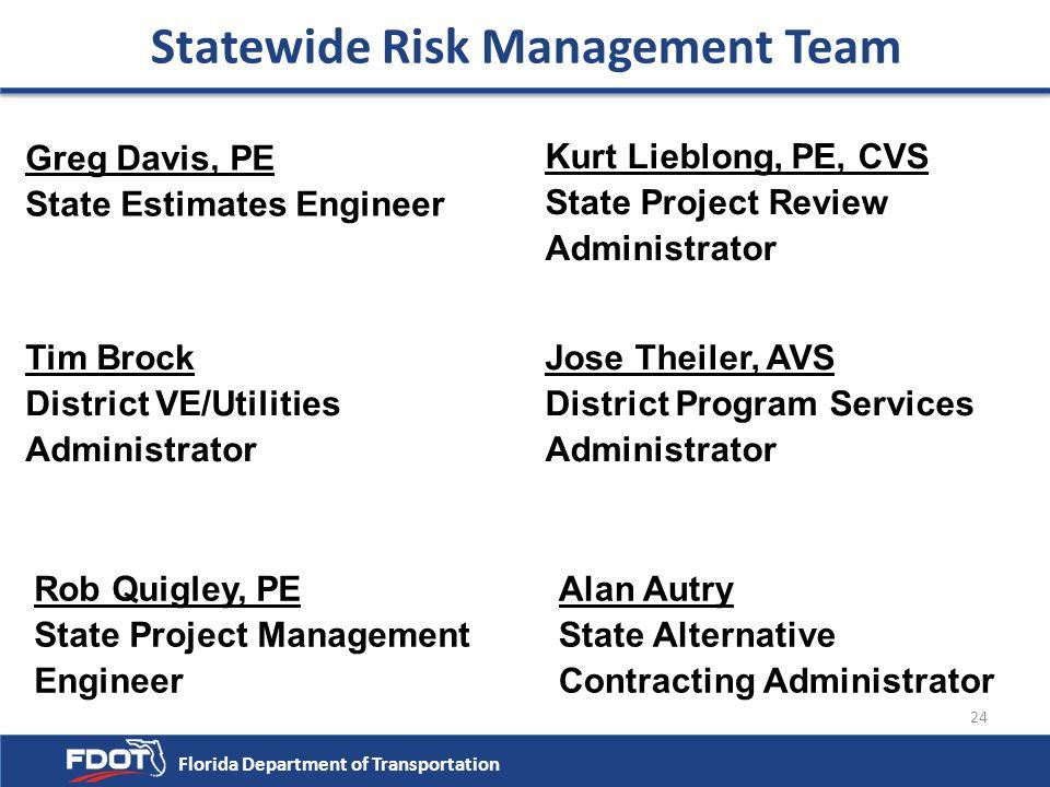 24 Statewide Risk Management Team Greg Davis, PE State Estimates Engineer Kurt Lieblong, PE, CVS State Project Review Administrator Tim Brock District