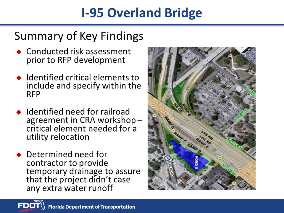 Summary of Key Findings u Conducted risk assessment prior to RFP development u Identified critical elements to include and specify within the RFP u Id