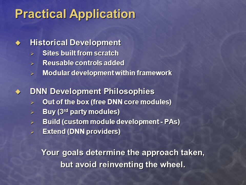 Practical Application  Historical Development  Sites built from scratch  Reusable controls added  Modular development within framework  Modular d