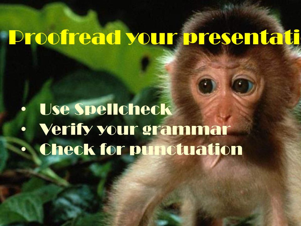 Proofread your presentation Use Spellcheck Verify your grammar Check for punctuation
