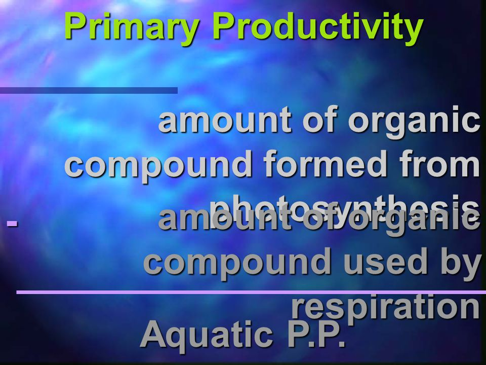 Primary Productivity the rate @ which biomass is produced & stored (by autotrophs) via. photosynthesis in an ecosystem