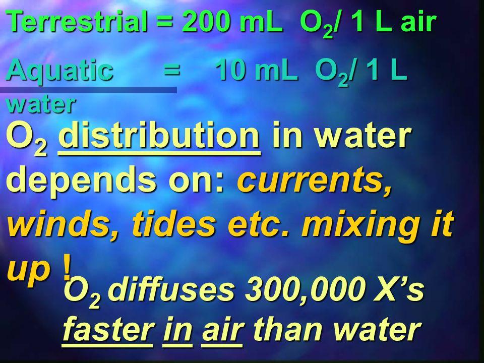 Terrestrial = 200 mL O 2 / 1 L air In an aquatic environmentO 2 is NOT as abundant as in a terrestrial… Aquatic = 10 mL O 2 / 1 L water