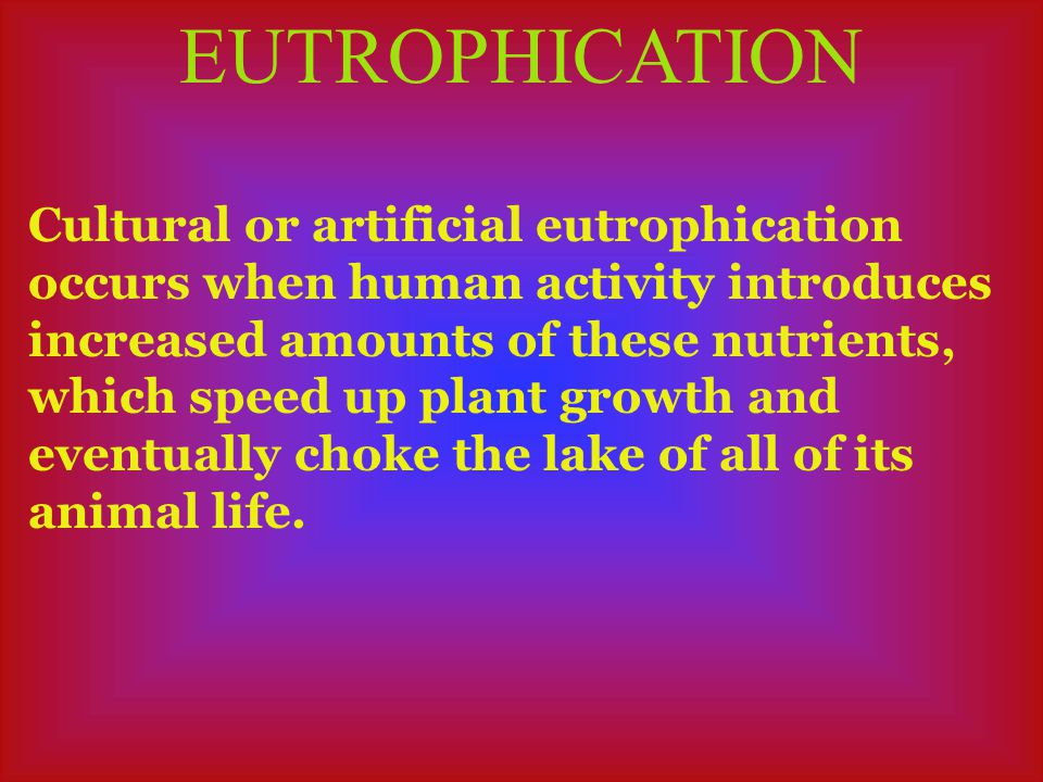 EUTROPHICATION a natural process that occurs in an aging lake or pond as that body of water gradually builds up its concentration of plant nutrients.