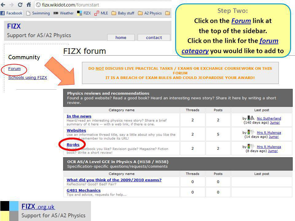 Step Two: Click on the Forum link at the top of the sidebar.