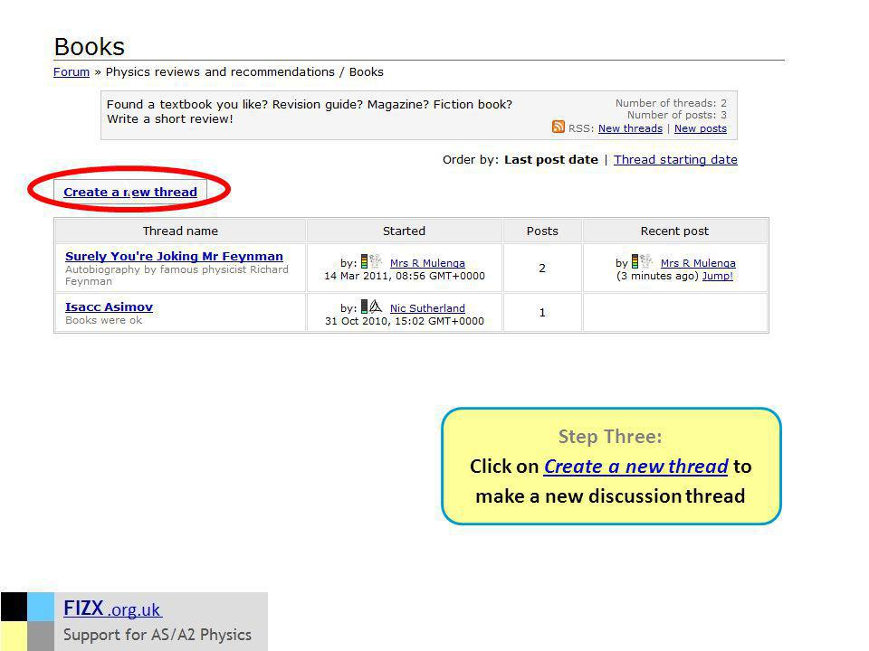 Step Three: Click on Create a new thread to make a new discussion thread \