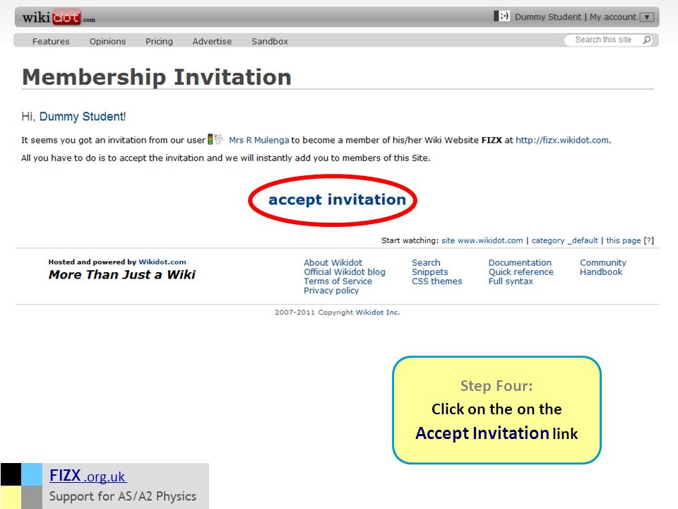 Step Four: Click on the on the Accept Invitation link