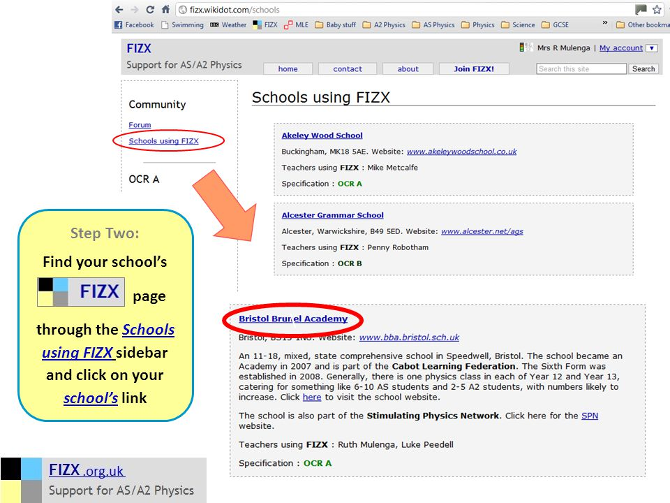 \ Step Two: Find your school's page through the Schools using FIZX sidebar and click on your school's link