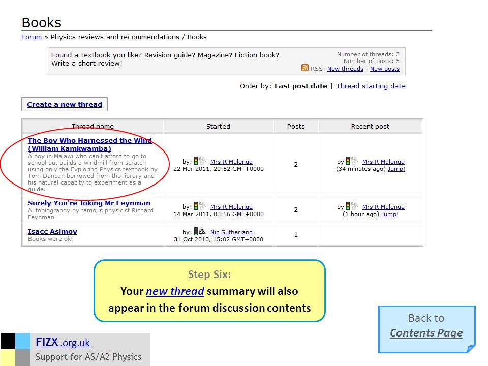 Step Six: Your new thread summary will also appear in the forum discussion contents Back to Contents Page