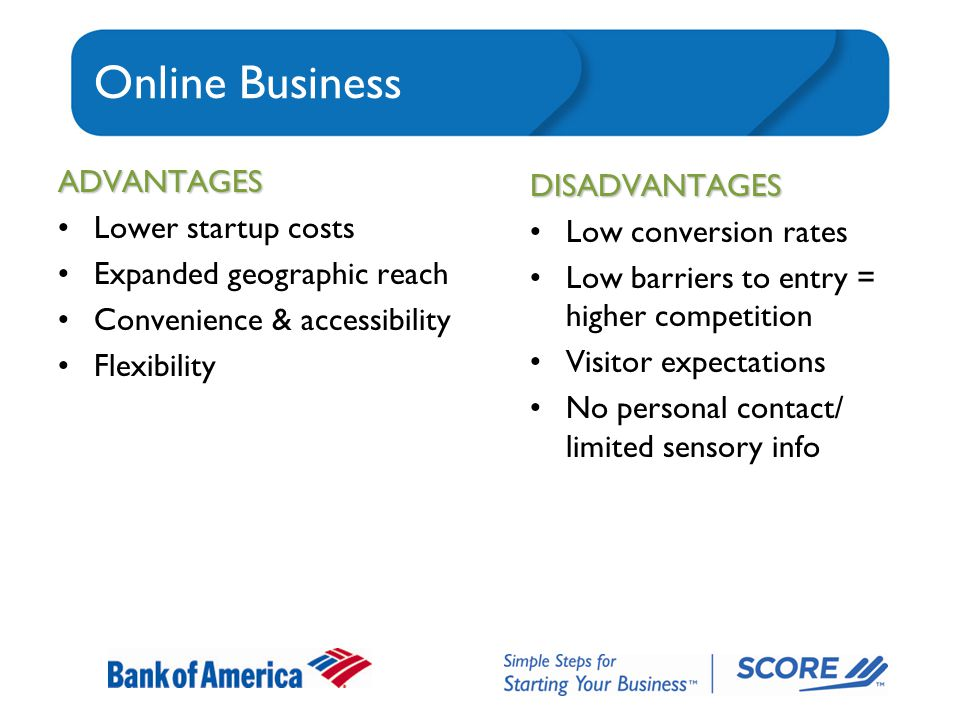 Online Business ADVANTAGES Lower startup costs Expanded geographic reach Convenience & accessibility Flexibility DISADVANTAGES Low conversion rates Low barriers to entry = higher competition Visitor expectations No personal contact/ limited sensory info