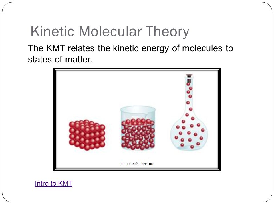 Kinetic Molecular Theory The KMT relates the kinetic energy of molecules to states of matter. Intro to KMT