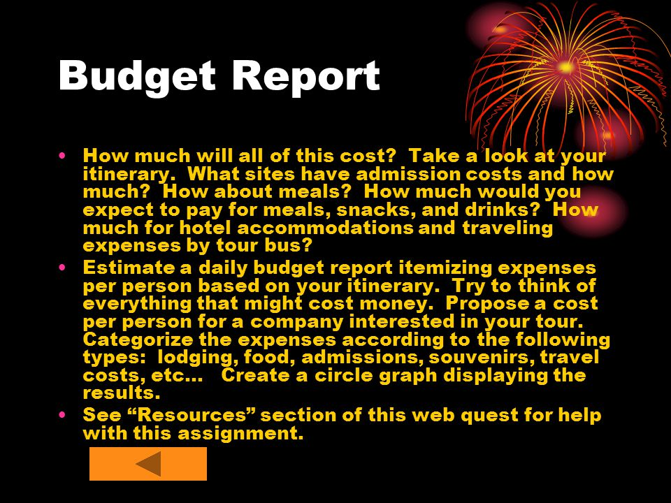 Budget Report How much will all of this cost. Take a look at your itinerary.