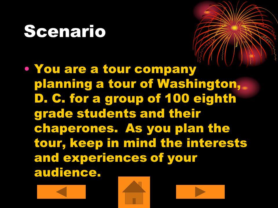 Scenario You are a tour company planning a tour of Washington, D.