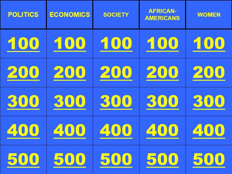 200 300 400 500 100 200 300 400 500 100 200 300 400 500 100 200 300 400 500 100 200 300 400 500 100 POLITICSECONOMICS SOCIETY AFRICAN- AMERICANS WOMEN