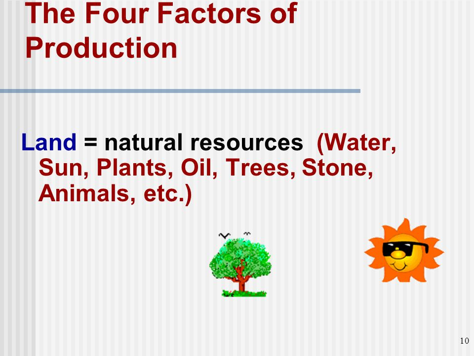 Land = natural resources (Water, Sun, Plants, Oil, Trees, Stone, Animals, etc.) The Four Factors of Production 10