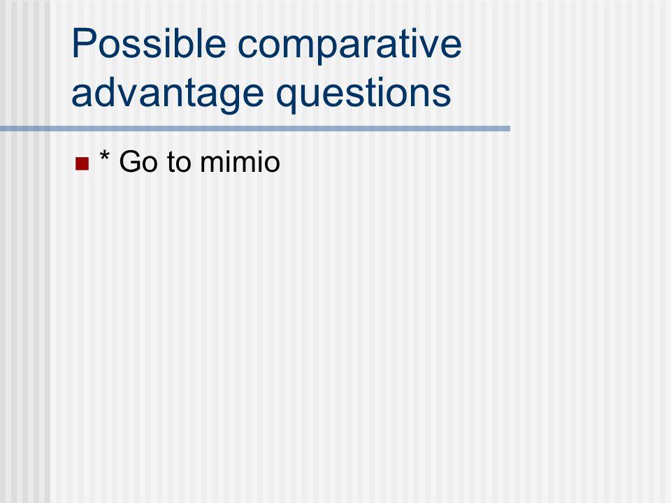Possible comparative advantage questions * Go to mimio