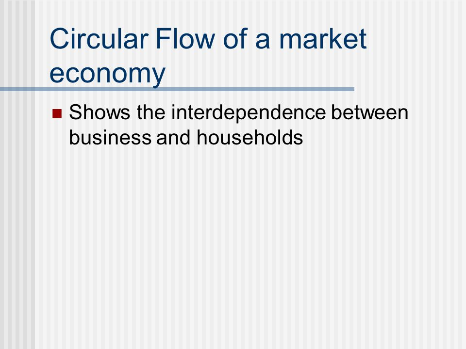 Circular Flow of a market economy Shows the interdependence between business and households