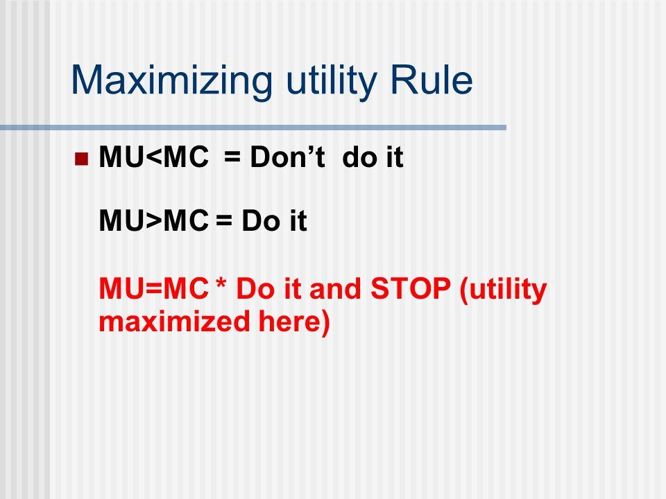 Maximizing utility Rule MU<MC = Don't do it MU>MC = Do it MU=MC * Do it and STOP (utility maximized here)