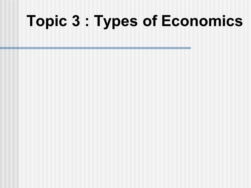 Topic 3 : Types of Economics