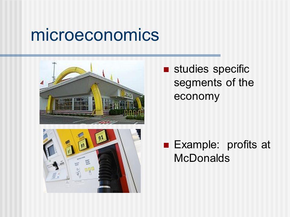 studies specific segments of the economy Example: profits at McDonalds microeconomics