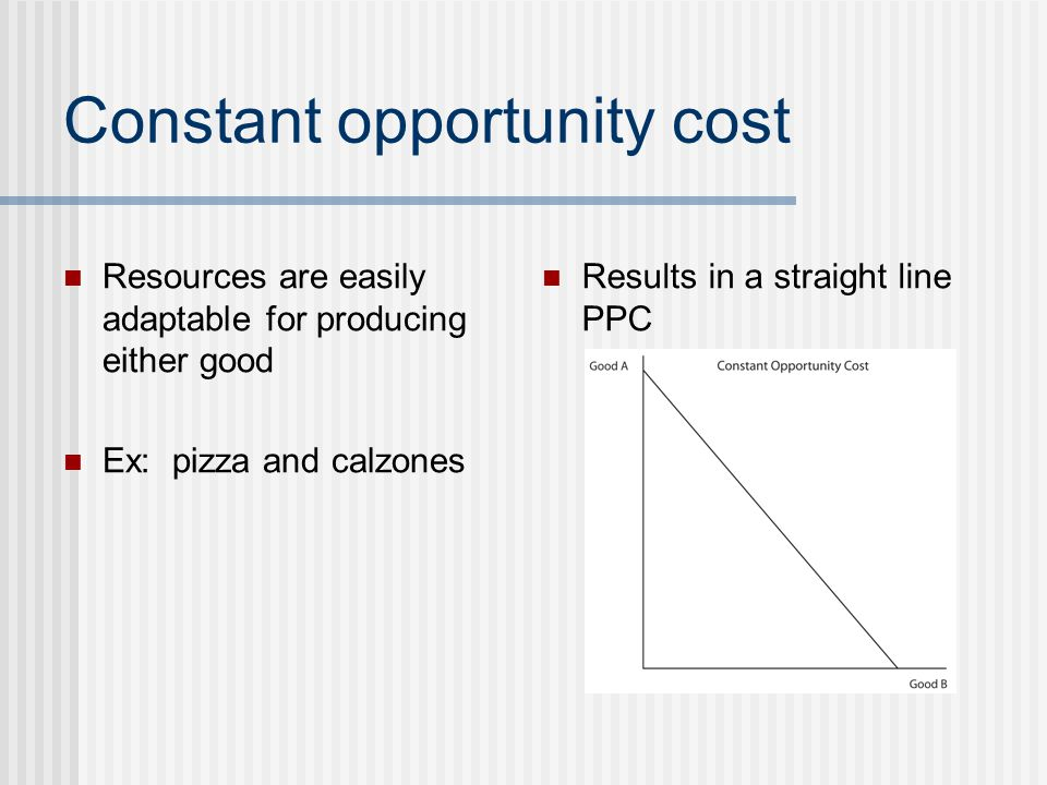 Constant opportunity cost Resources are easily adaptable for producing either good Ex: pizza and calzones Results in a straight line PPC