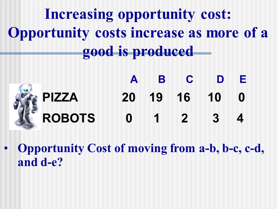 PIZZA 20 19 16 10 0 ROBOTS012 34 Opportunity Cost of moving from a-b, b-c, c-d, and d-e? ABC D E Increasing opportunity cost: Opportunity costs increa