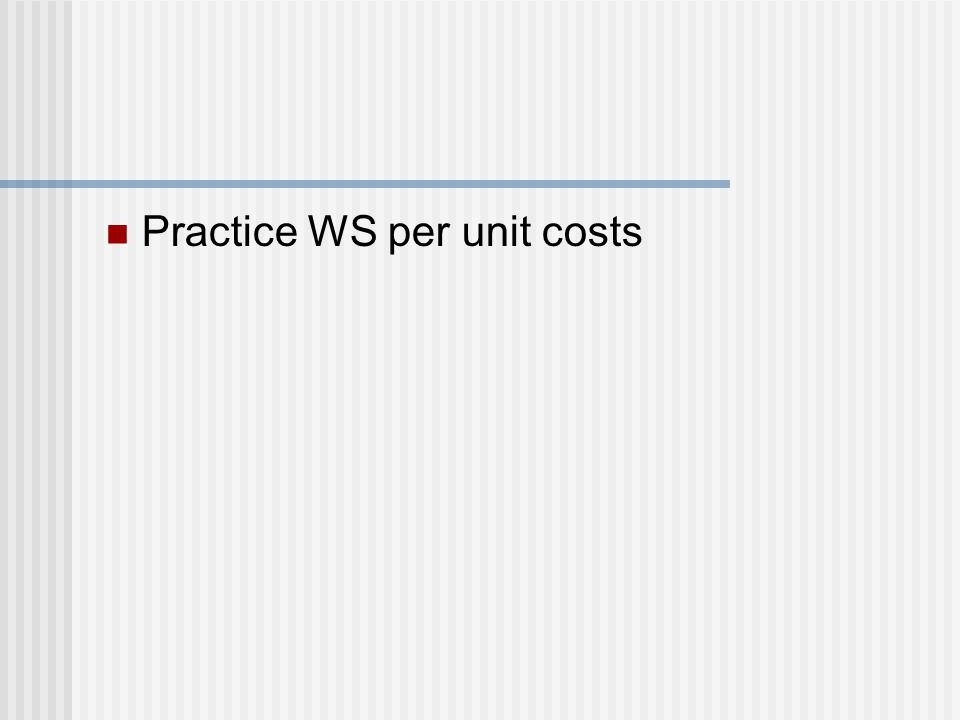 Practice WS per unit costs