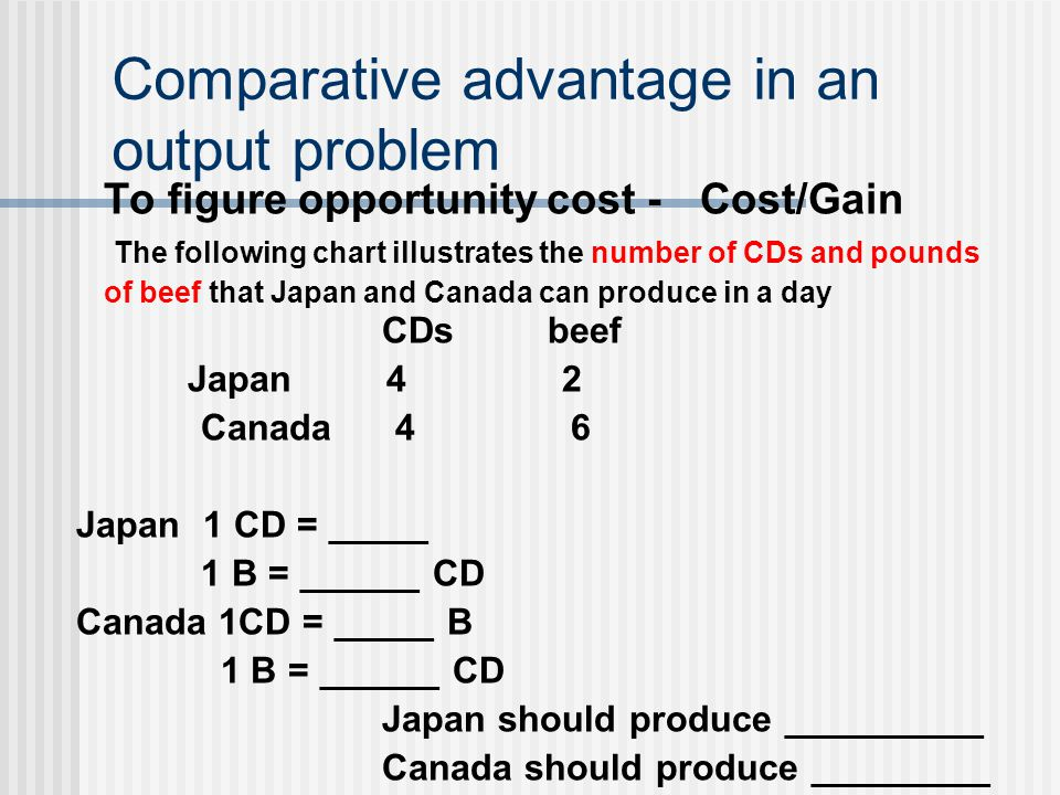 Comparative advantage in an output problem To figure opportunity cost - Cost/Gain The following chart illustrates the number of CDs and pounds of beef