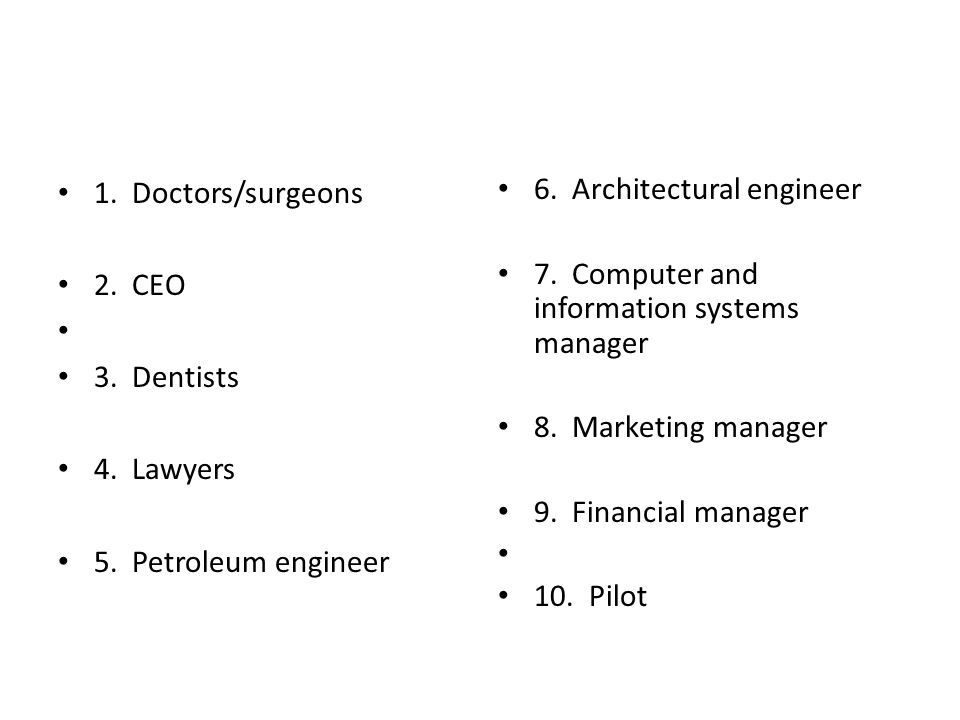 1.Doctors/surgeons 2. CEO 3. Dentists 4. Lawyers 5.