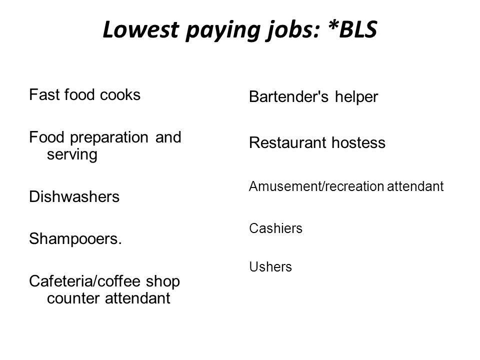 Lowest paying jobs: *BLS Fast food cooks Food preparation and serving Dishwashers Shampooers. Cafeteria/coffee shop counter attendant Bartender's help