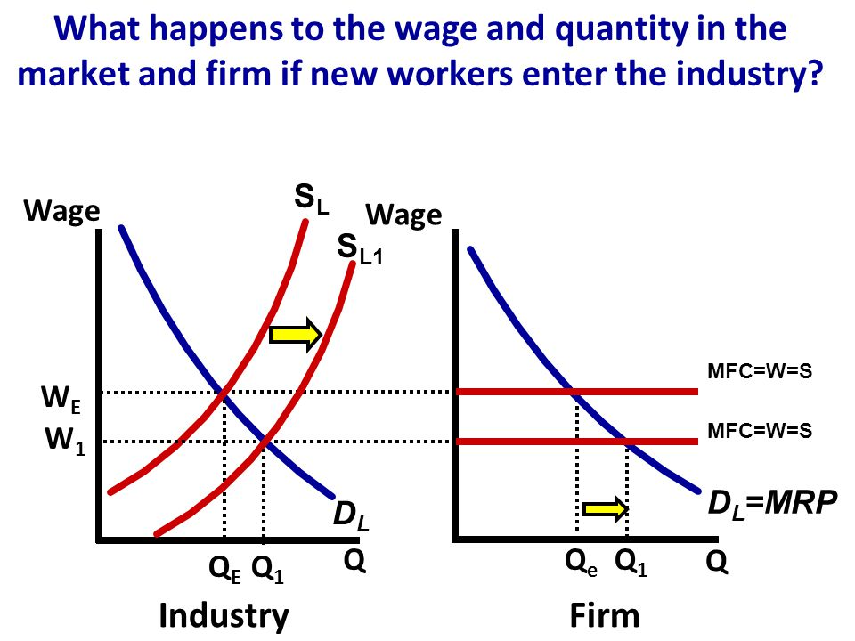SLSL DLDL Wage Q Q IndustryFirm QEQE WEWE QeQe D L =MRP MFC=W=S What happens to the wage and quantity in the market and firm if new workers enter the