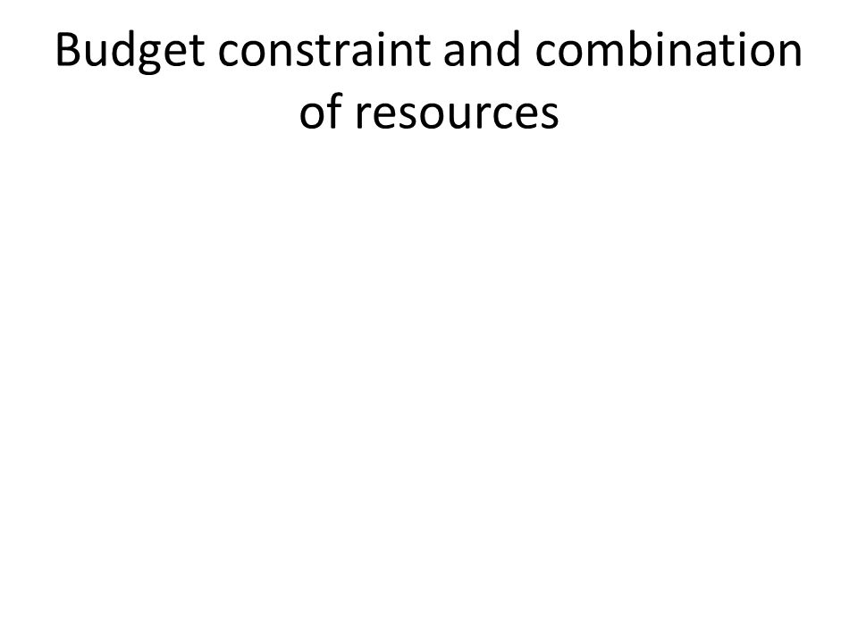 Budget constraint and combination of resources