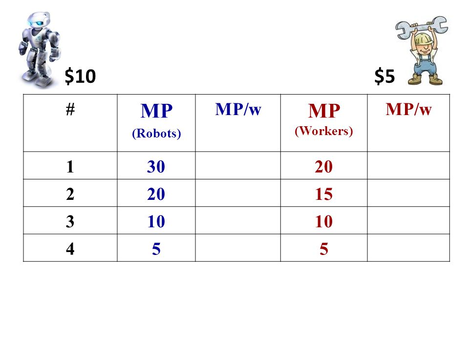 # MP (Robots) MP/w MP (Workers) MP/w 13020 2 15 310 455 $10 $5
