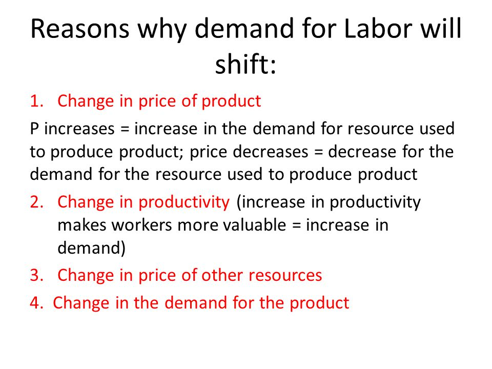 Reasons why demand for Labor will shift: 1.Change in price of product P increases = increase in the demand for resource used to produce product; price