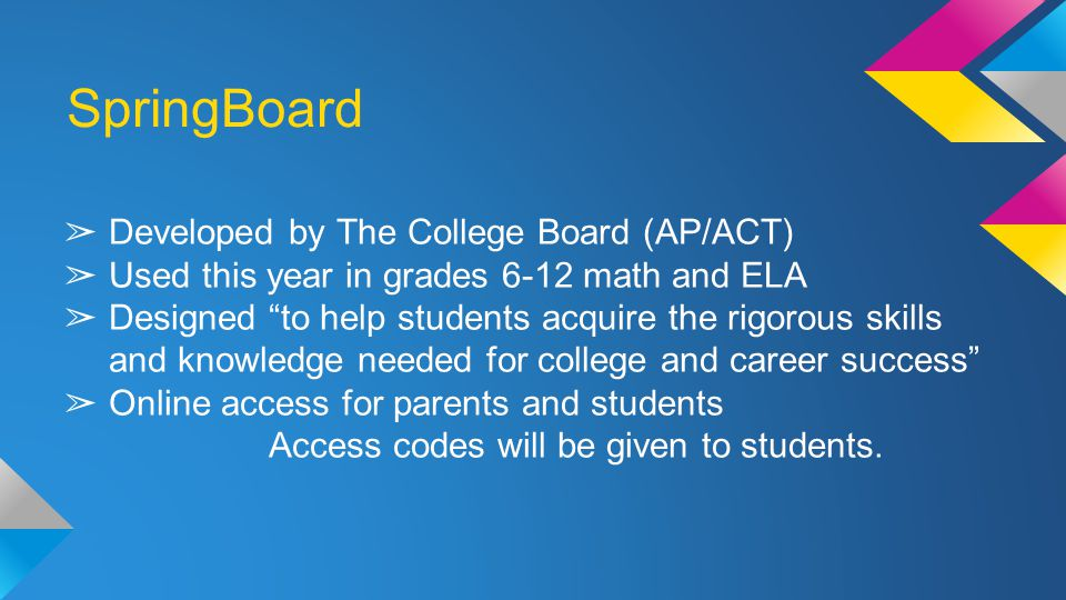 SpringBoard ➢ Developed by The College Board (AP/ACT) ➢ Used this year in grades 6-12 math and ELA ➢ Designed to help students acquire the rigorous skills and knowledge needed for college and career success ➢ Online access for parents and students Access codes will be given to students.