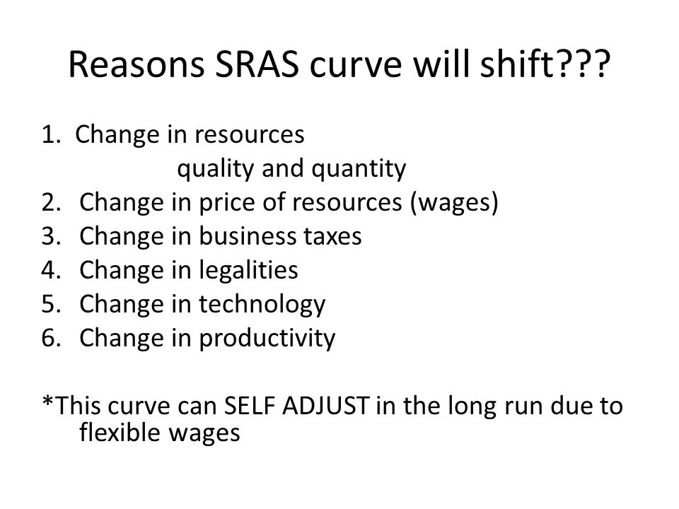 Reasons LRAS will shift??? 1. change in resources quality and quantity 2. Change in technology