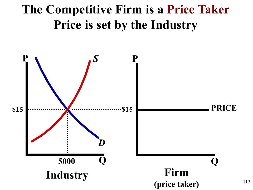 P Q PRICE P Q 5000 D S Industry Firm (price taker) $15 The Competitive Firm is a Price Taker Price is set by the Industry 113