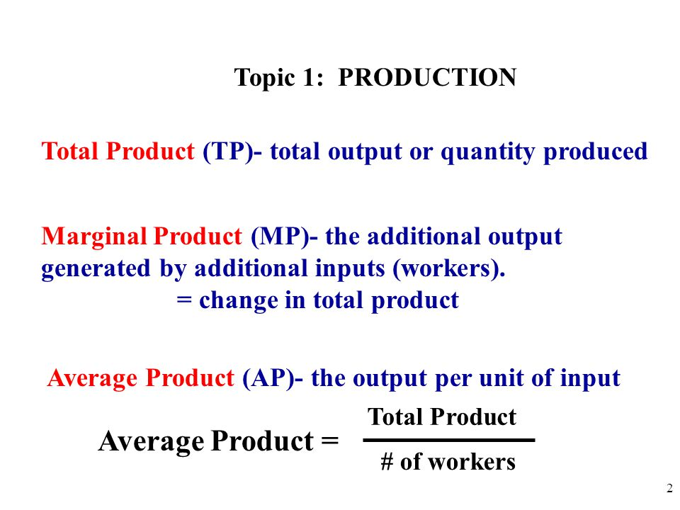 calculate MP and AP # of Workers (Input) Total Product(TP) PIZZAS Marginal Product(MP) Average Product(AP) 00 110 225 345 460 570 675 7 870 3