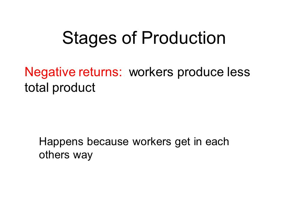 Stages of Production Negative returns: workers produce less total product Happens because workers get in each others way