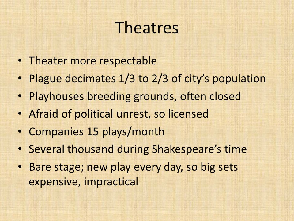 Theatres Theater more respectable Plague decimates 1/3 to 2/3 of city's population Playhouses breeding grounds, often closed Afraid of political unrest, so licensed Companies 15 plays/month Several thousand during Shakespeare's time Bare stage; new play every day, so big sets expensive, impractical
