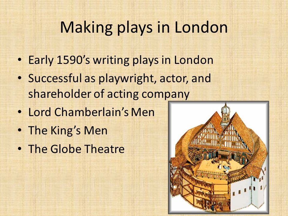 Making plays in London Early 1590's writing plays in London Successful as playwright, actor, and shareholder of acting company Lord Chamberlain's Men The King's Men The Globe Theatre