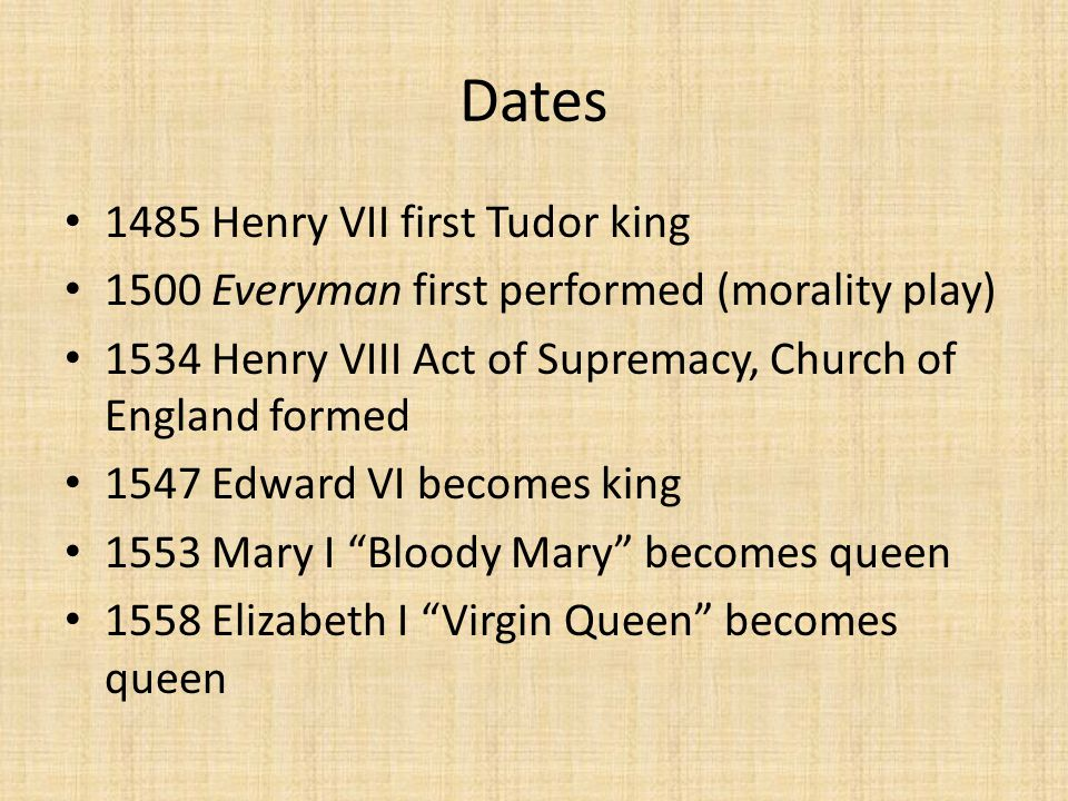 Dates 1485 Henry VII first Tudor king 1500 Everyman first performed (morality play) 1534 Henry VIII Act of Supremacy, Church of England formed 1547 Edward VI becomes king 1553 Mary I Bloody Mary becomes queen 1558 Elizabeth I Virgin Queen becomes queen
